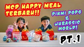 UNBOXING mainan Happy Meal Mc Donalds PIKMI POP &amp JURASSIC PARK