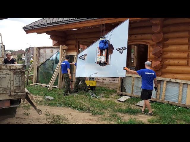 Ярославль, панорамное остекление сруба, поставили всего одну трапецию, день третий