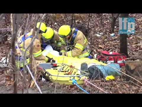 London firefighters perform ravine rescue