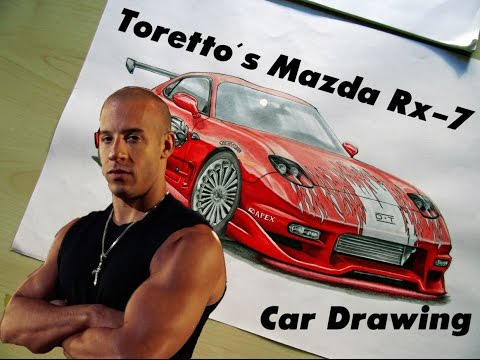 Toretto S Mazda Rx 7 The Fast And The Furious Fan Art Car Drawing