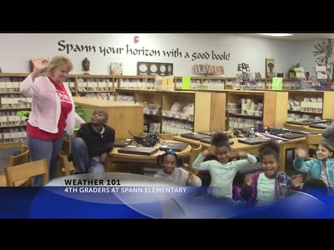 Rob Fowler visits the 4th graders at Spann Elementary School for Weather 101
