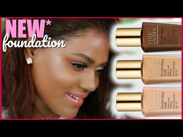 NEW* Estee Lauder Double Wear Nude Water Fresh Makeup Foundation Review + Demo   dark skin