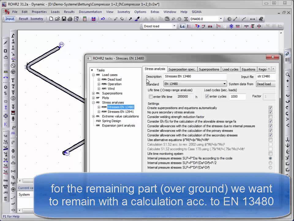 Buried pipes in acc  with EN13941, analysis and check with ROHR2