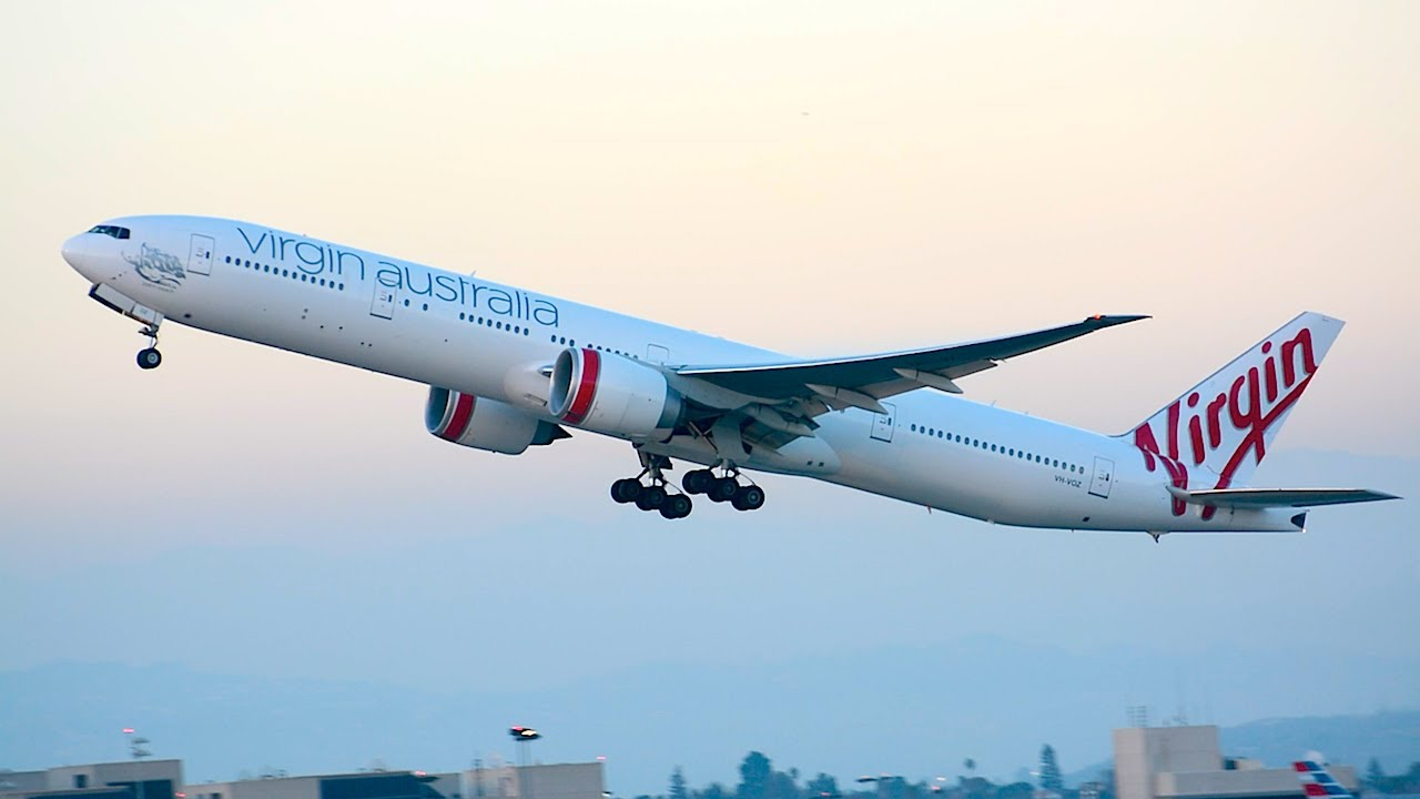 Virgin australia boeing 777 300er vh voz departing lax youtube publicscrutiny Image collections