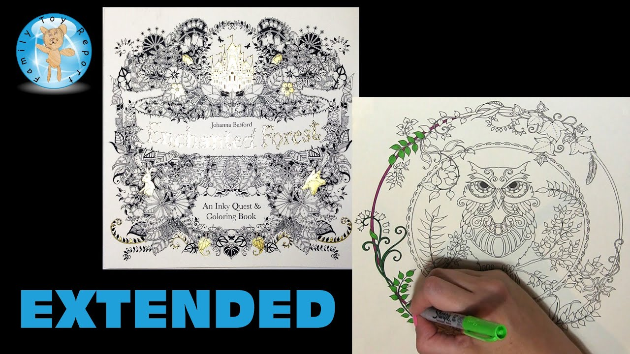 Enchanted forest coloring book youtube - Enchanted forest by johanna basford adult coloring book owl page extended family toy report youtube