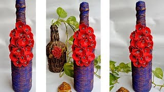 Wine Bottle Decoration l Altered Bottle with Poppy flowers l Bottle art