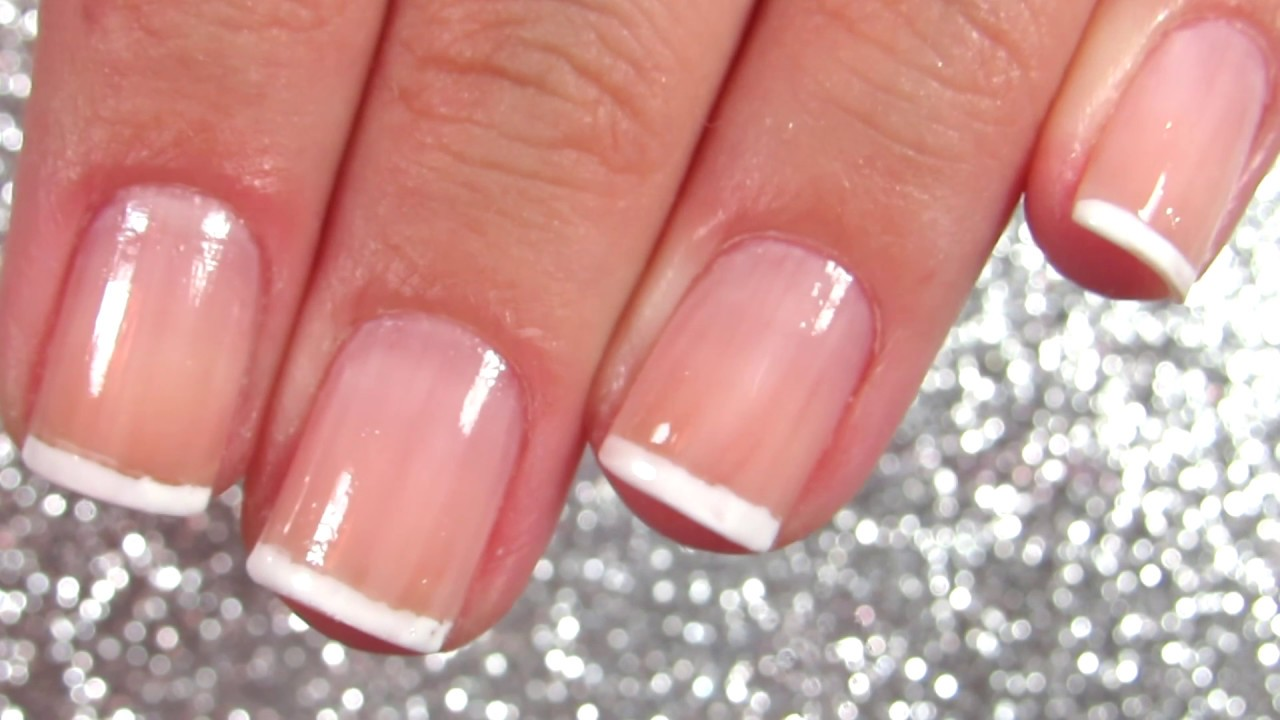 How To French Manicure On Short Nails Youtube
