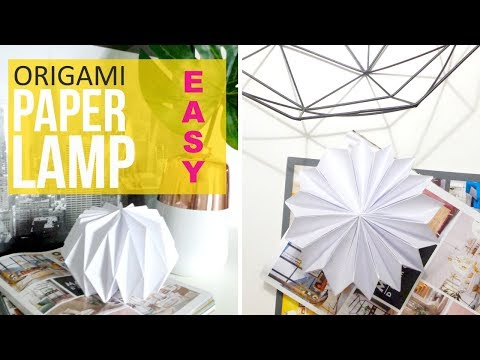 DIY ORIGAMI PAPER LAMP LANTERN EASY LAMPSHADE HOW TO MAKE ON A BUDGET ROOM DECOR TUTORIAL KAWAII