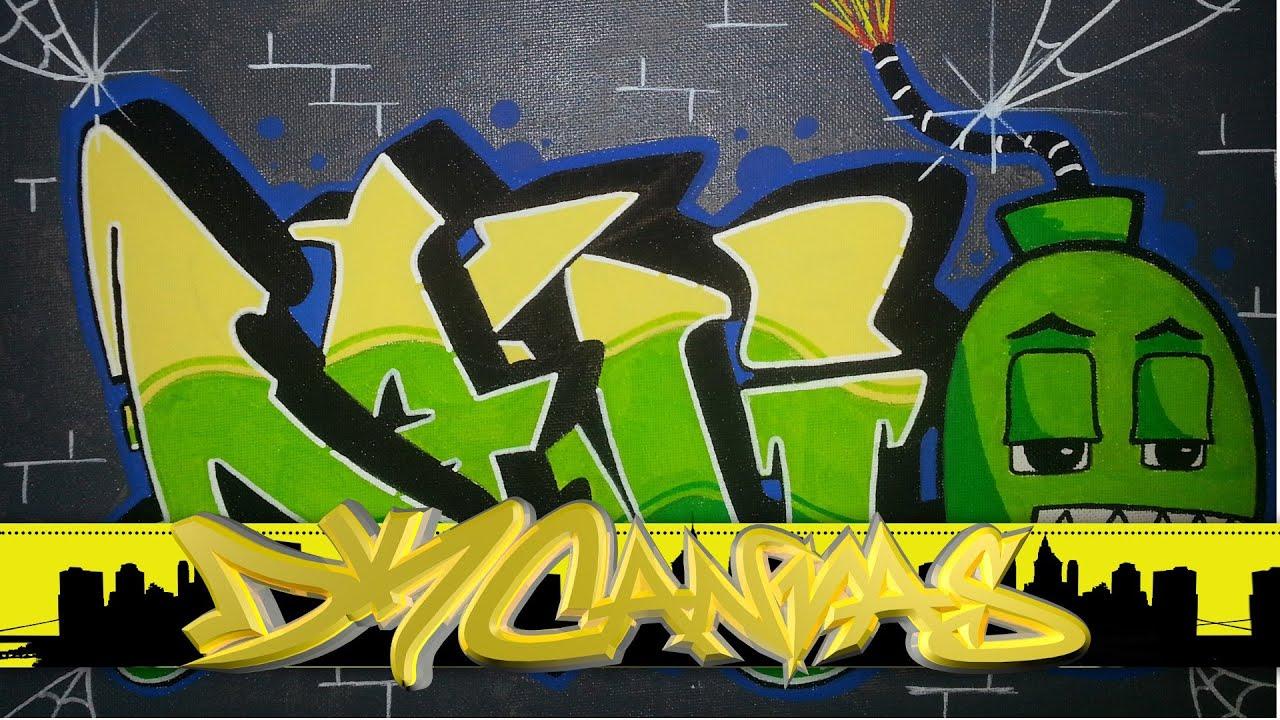 R Graffiti Letters Graffiti On Canvas - B...