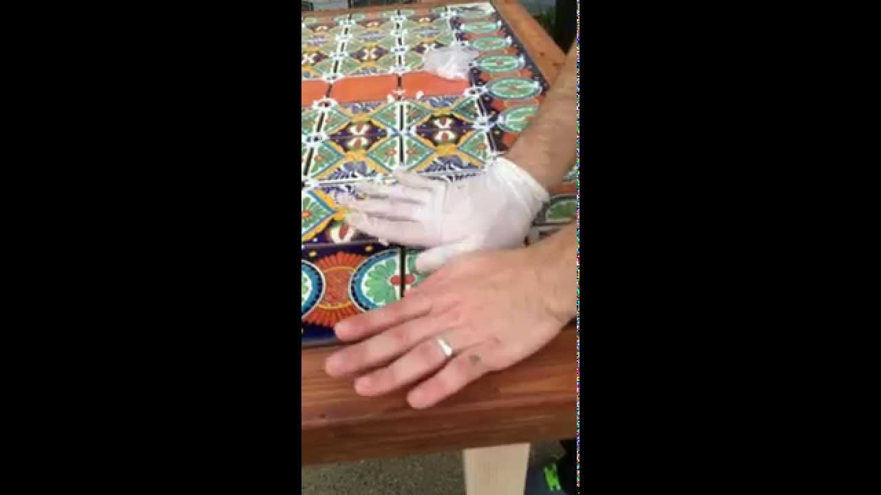 DIY Table With Mexican Tiles Over Wood Using Modified Thin Set   5/7 Last  Tile