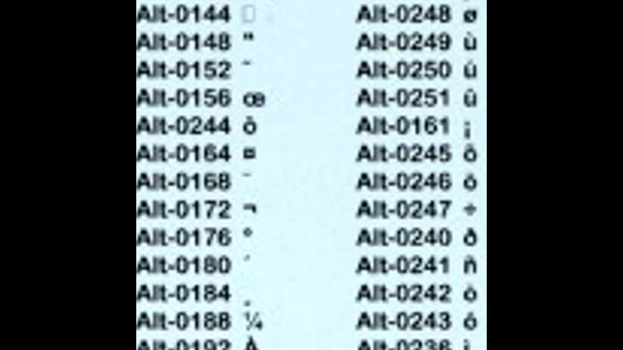 alt key codes youtube biocorpaavc Image collections