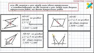 первый признак равенства треугольников. Задачи по готовым чертежам, рисункам. 7 класс