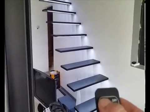 escalier suspendu leds dimmable youtube. Black Bedroom Furniture Sets. Home Design Ideas
