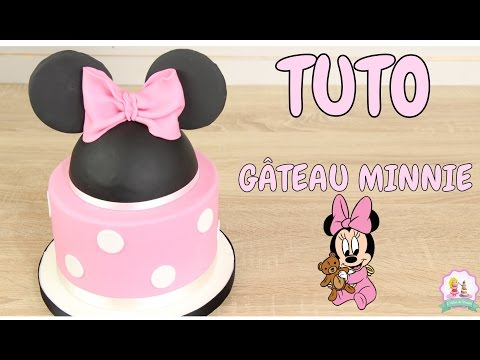 ♡•-gateau-d'anniversaire-minnie-pate-a-sucre---decoration-gateau-cake-design-•♡