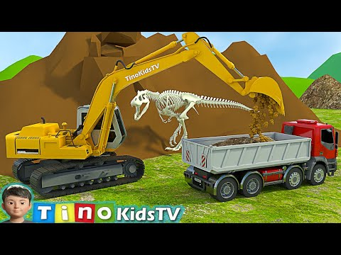 Download Excavator, Driller & Dump Truck for Kids | Finding Dinosaur Bones