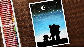 Mother and Baby Elephants LOVE Moonlight Scenery OIL PASTELS - Step By Step