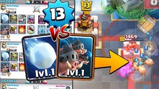 NEW LEVEL 1 CARDS WIN vs LEVEL 13 PLAYERS | Clash Royale LEVEL 1 ROYAL HOG & SNOWBALL CARD TROLLING
