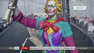 Памятник Петру I раскрашен художниками-альпинистами! WWW.1MORE.TV