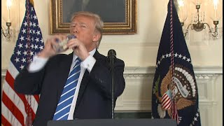 Pres. Trump pauses speech to take big swigs of water