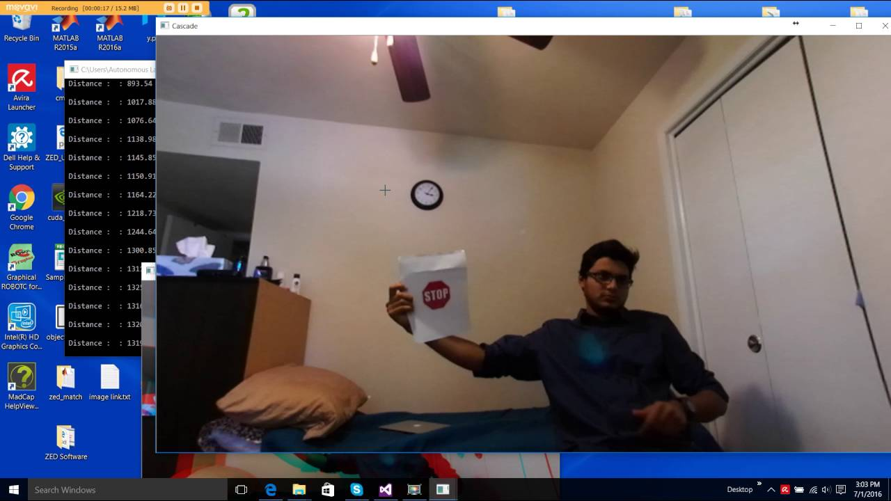 OpenCV Stop sign detection zed stereo camera real time in room(Version 2)