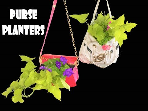 purse planter/upcycled your old clutch/purse/handbags /organic garden
