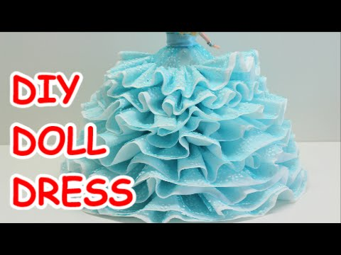 DIY Doll Dress Bath Tissue Ribbon and Plastic Bottle