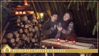 07/ SHELTER UPDATES + CAMPFIRE LUNCH (bed, shelves, table, lighting)