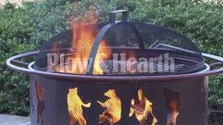 Steel Dancing Bears Outdoor Fire Pit With Cooking Grill-plow &hearth