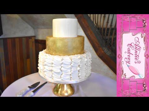 super-ruffled-gold-wedding-cake