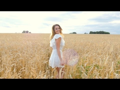 Young Woman Girl In White Dress Running On The Field | Stock Footage