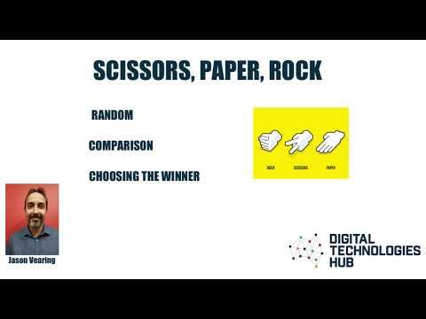Visual to text coding Lesson 4- Scissors, Paper, Rock