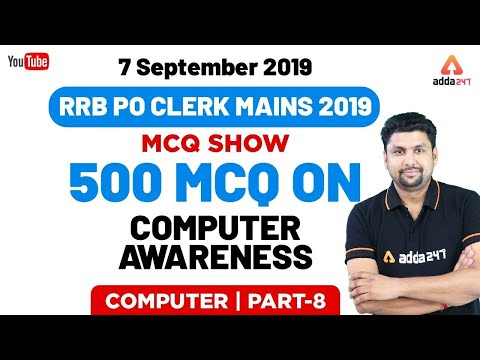 All Exams | Computer Awareness MCQ Show | 7 September 2019 | 500 MCQ For RRB PO/CLERK (Part 8)