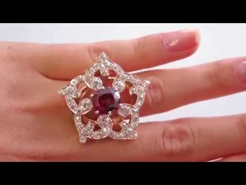 7.06CT ANTIQUE VINTAGE VICTORIAN DIAMOND RHODOLITE GARNET CLUSTER RING ROSE GOLD