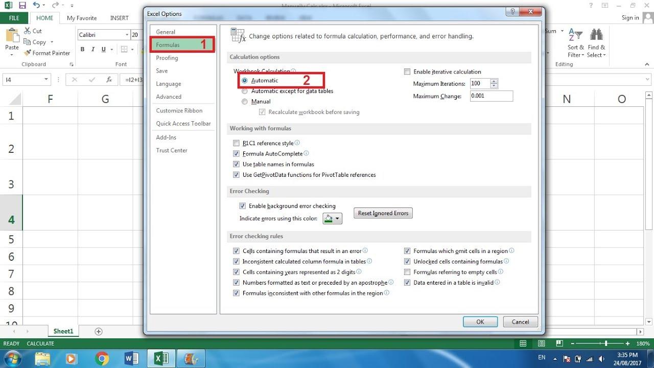 Fixed Excel Formulas Not Calculating.