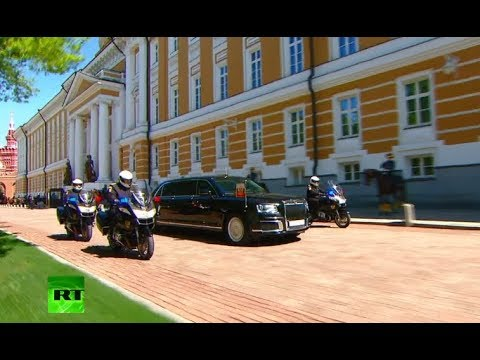 RAW: Putin takes inaugural ride in brand new Russian made Cortege limousine