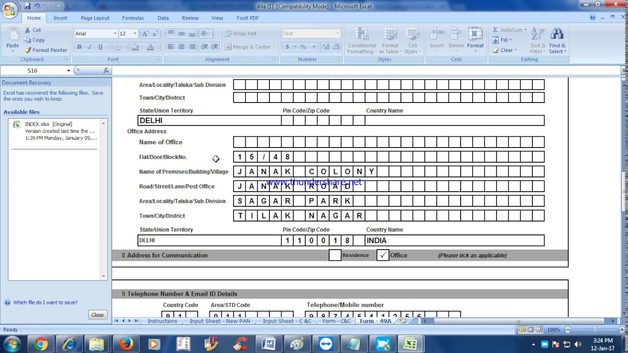New Pan Card Application Form 49a In Pdf Format