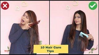 10 HAIR CARE HACKS For Healthy, Shiny & Long Hair   Hair Care Tips in HINDI