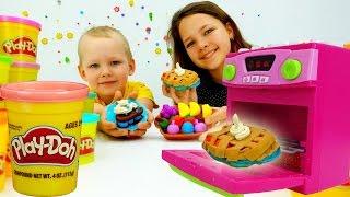 Игры для детей на ютьюб: Лучшая Подружка Настя и Вова лепят вкусняшки. Пластилин Плей До Тарталетки