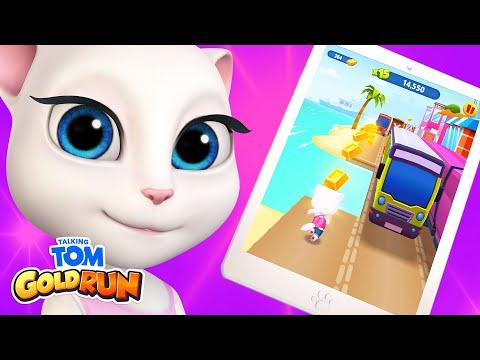 Talking Angela Plays Talking Tom Gold Run (Gameplay)