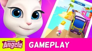 Talking Angela Plays Talking Tom Gold Run (Gameplay)