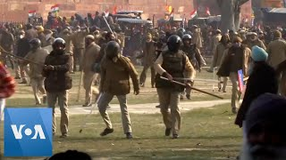 Protesting India Farmers Clash With Police