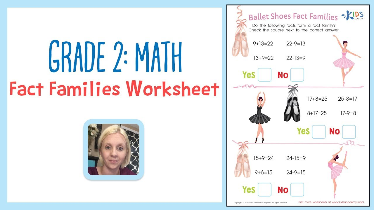 medium resolution of Grade 2: Math - Fact Families Worksheet   Kids Academy - YouTube