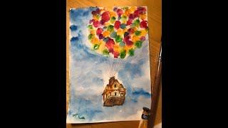 Уроки рисования для детей и взрослых. Мульт Вверх. Легко!! Летающий дом