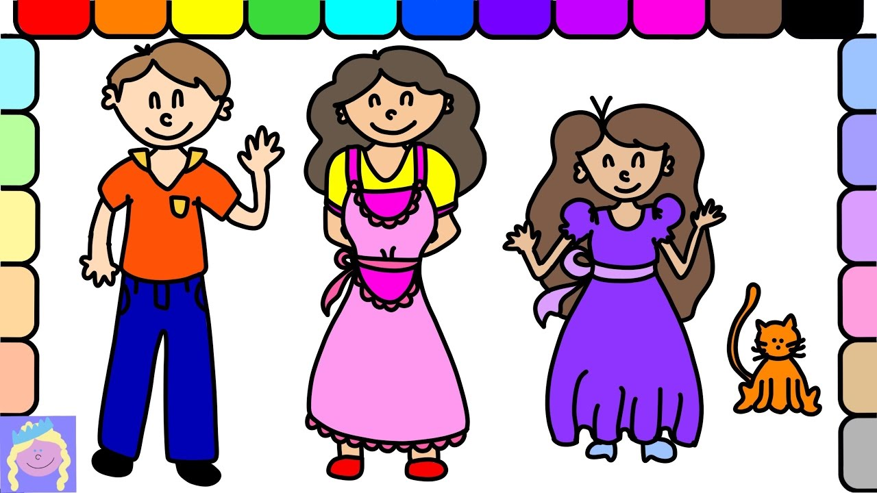 Learn How To Draw A Cute Little Family With This Easy Drawing And Coloring Page For Kids
