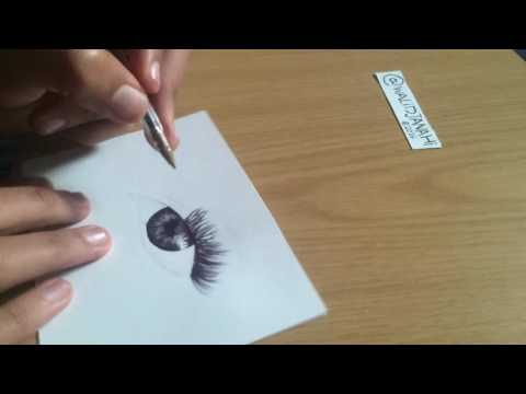 Time Lapse - Drawing Of Eye With black Pen Bic