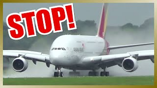 Amazing Rejected Takeoff of ASIANA AIRLINES A380