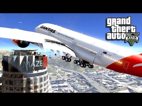GTA 5 Mods - A380 Airplane Emergency Landing! - GTA 5 A380 Mod