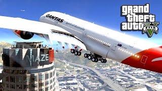 GTA 5 Mods - A380 Airplane Emergency Landing! - GTA 5 A380 Mod