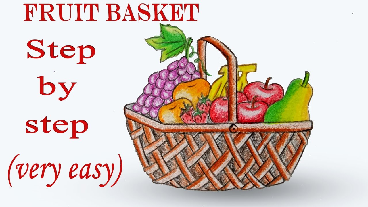 How to draw Fruit Basket step by step (very easy) - YouTube