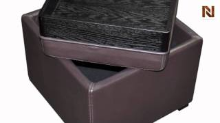 Full Leather Espresso Ottoman With Storage And End Table Vgkky063